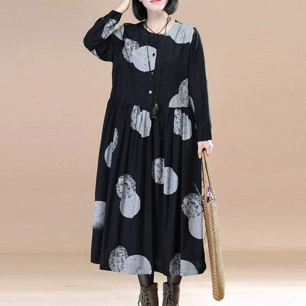 Stylish Printing Splicing Pleated Long Sleeves Women Navy Blue Dress - Buykud