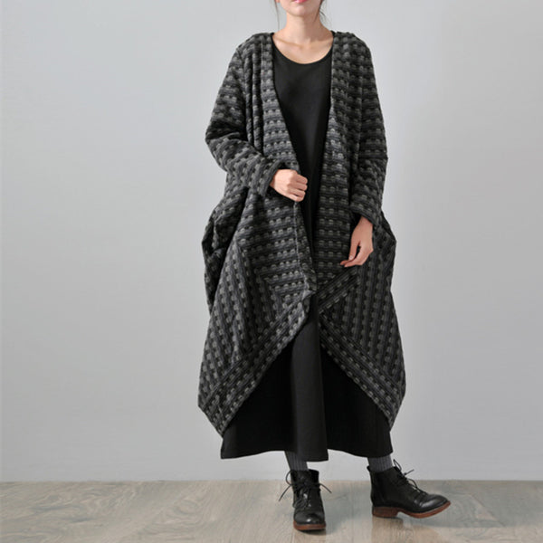 Gray Women Winter Hooded Wool Coat