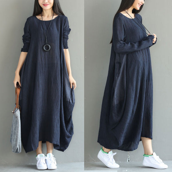 Loose Women Casual Folded Linen Irregular Blue Dress