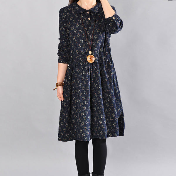 Cotton Floral Navy Blue Dress
