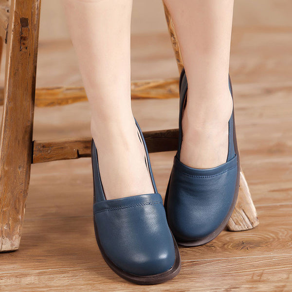 Handmade Genuine Leather Retro Women Blue Single Shoes - Buykud