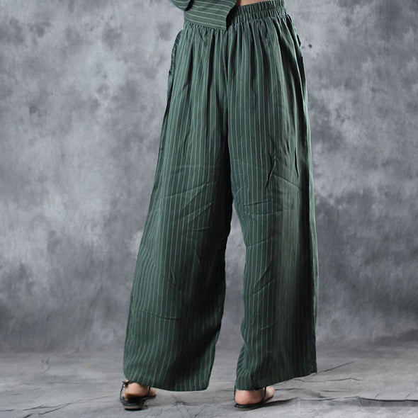 Loose Striped Suit V Neck Shirt Wide Leg Pants