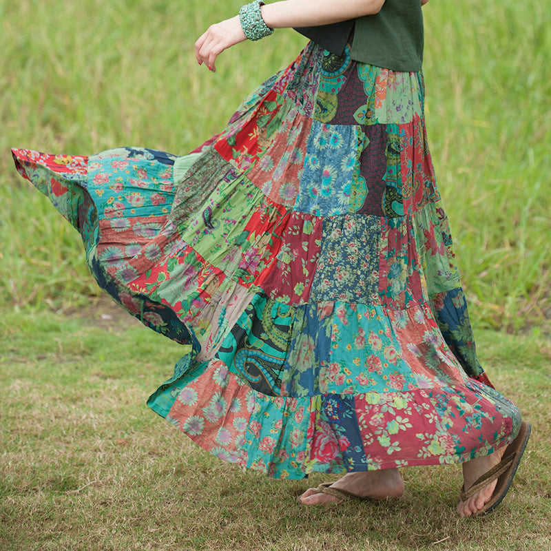Bohemia Style Prints Patchwork Elastic Waist Loose Summer Skirt