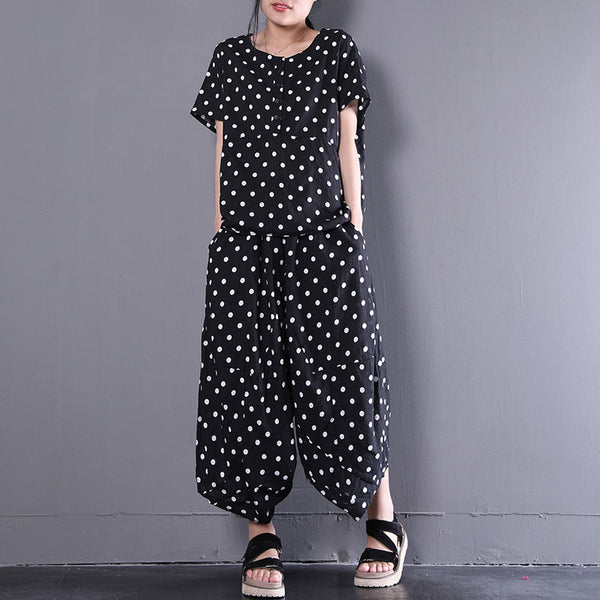 Summer Women Dots Printed Casual Two Pieces Set