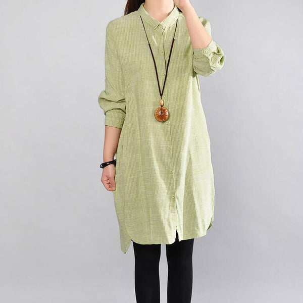 Straight Cotton Women Loose Casual Green Shirt