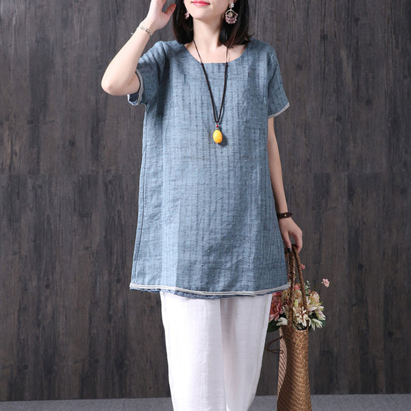 Round Neck Women Loose Linen Casual Summer Splicing Shirt