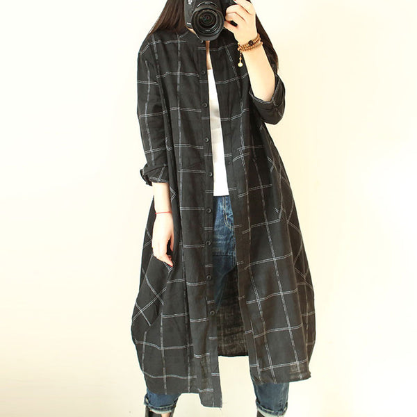Round Neck Loose Casual Lattice Long Shirt