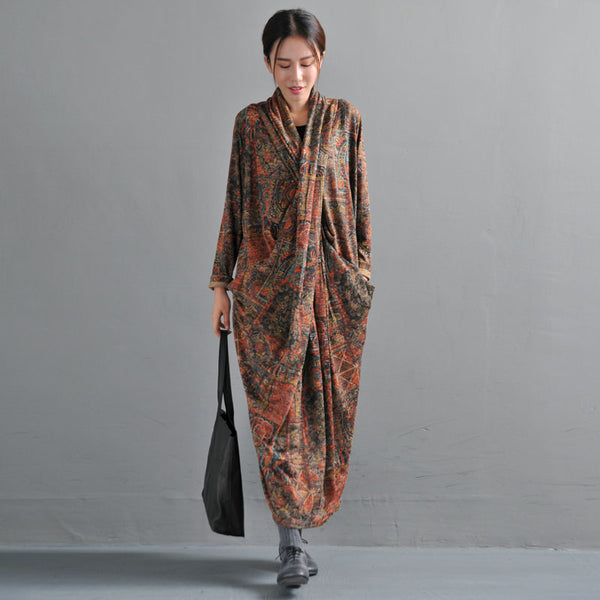 Women's Retro Printing Dress Autumn Vintage Dresses