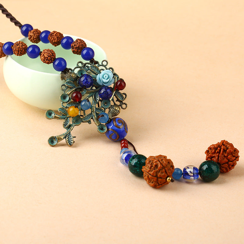 Women Ethnic Alloy Fish Agate Necklace