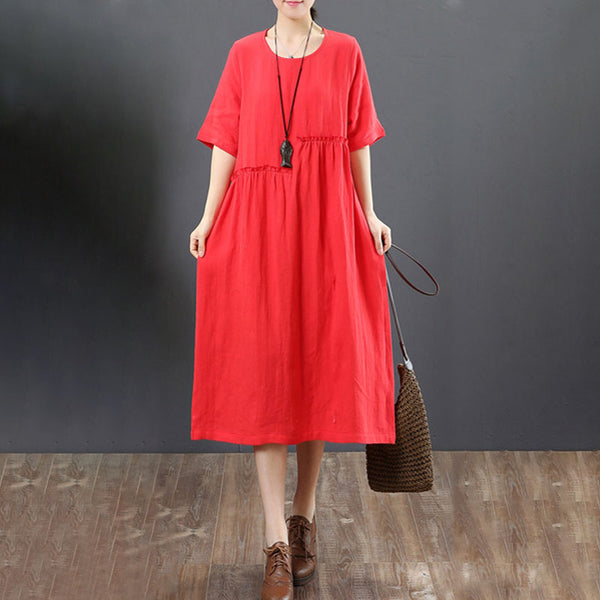 Women Summer Casual Short Sleeve Red Pleated Dress - Buykud