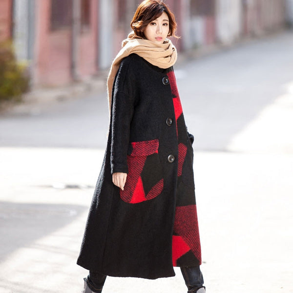 Stitching Loose Wool Coat