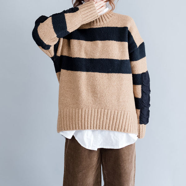 Loose Stripe Casual Bat Sleeves Coffee Sweater