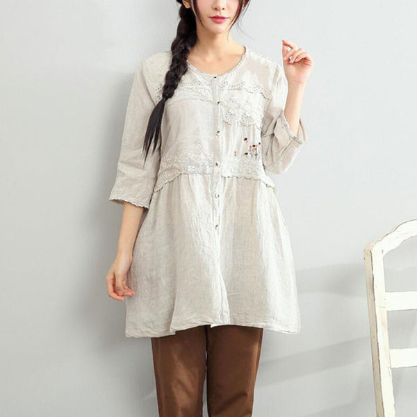 Women Round Neck Embroidered Loose Shirt