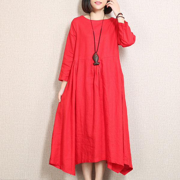 Irregular Line Large Size Red Dress