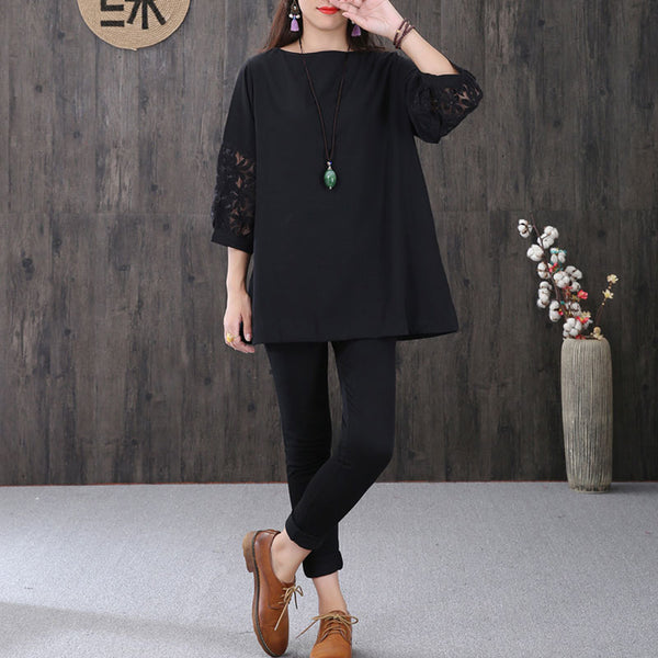 Women Hollowed Lace Chiffon Splicing Three Quarter Sleeves Black Shirt - Buykud