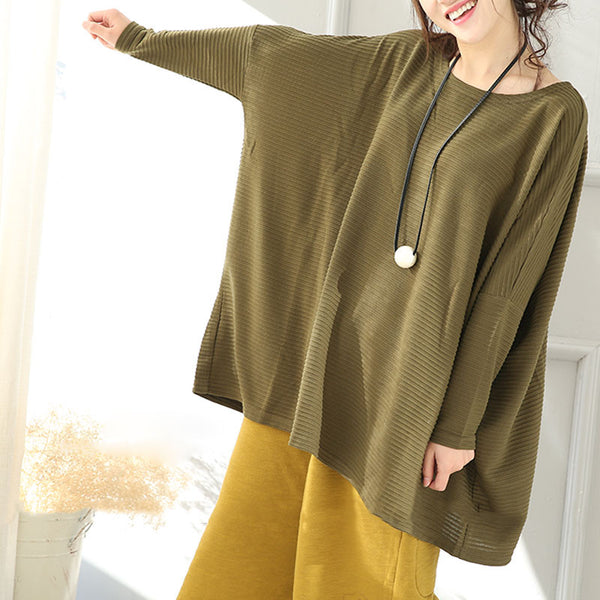 Shoulder Sleeves Round Neck Loose Sweater