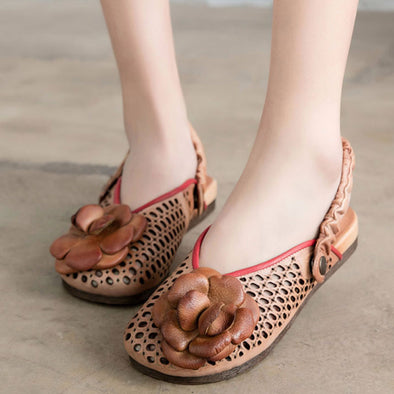 Flower Hollowed Sandals Leather Women Spring Summer Shoes - Buykud
