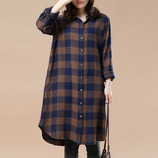 Spring Retro Irregular Lattice Blue And Coffee Long Shirt dress