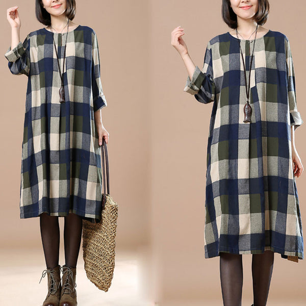Casual Long Sleeve Plaid Dress