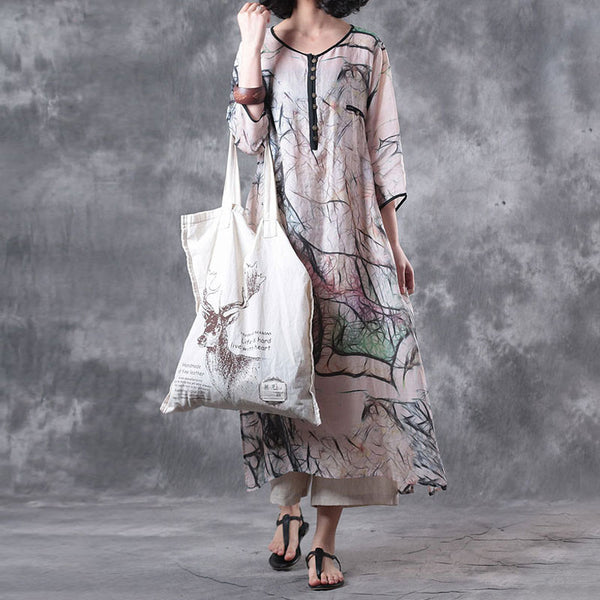 Women Summer Loose Casual Printing Linen Dress