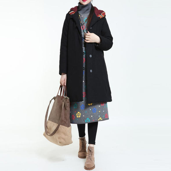 Printing Hooded Large Size Coat - Buykud