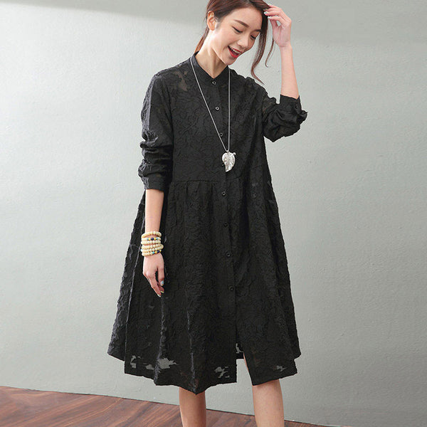Hollow Lace Loose Black Dress