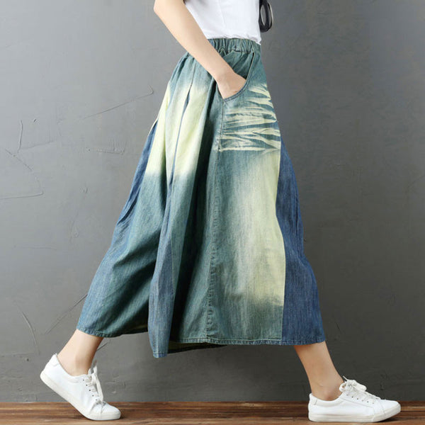 Color Matching Casual Blue Women Wide Leg Pants - Buykud