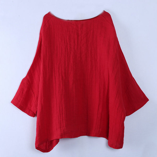 V Neck Long Sleeve Loose Solid Red Shirt - Buykud