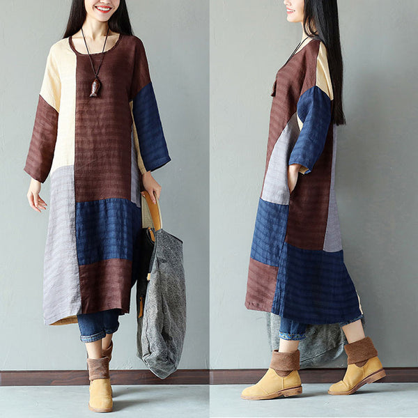 Splicing Linen Loose Women Casual Stripe Coffee Dress - Buykud