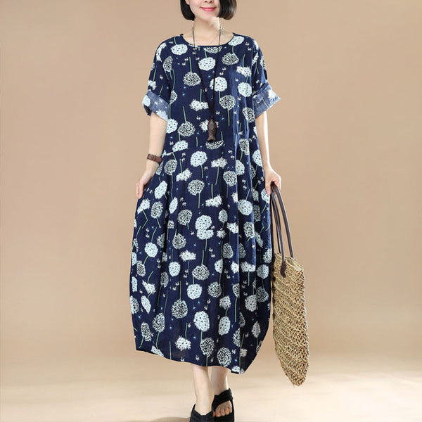 Women Asymmetric Printing Floral Cotton Linen Dress