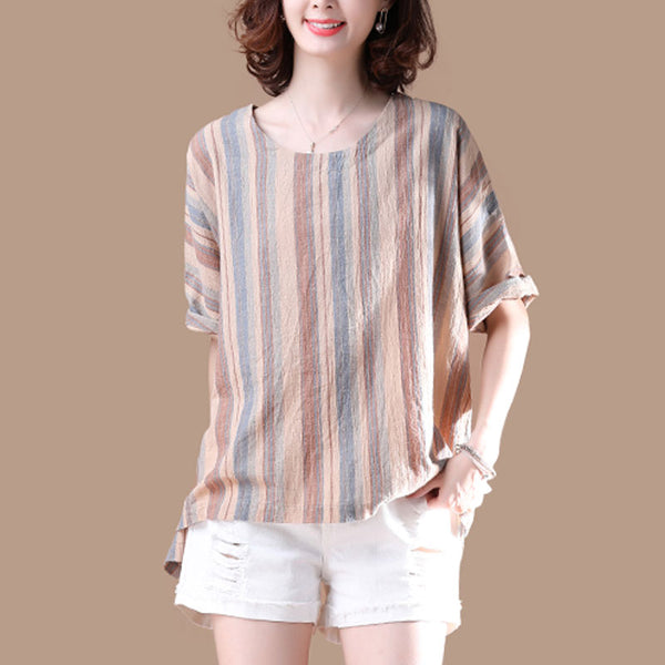 Irregular Stripe Short Sleeve Women Summer T-shirt
