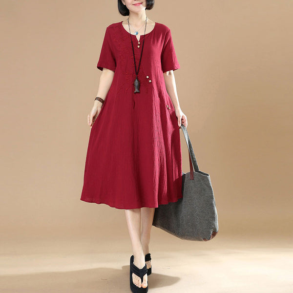 Retro Summer Women Button Embroidered Cotton Linen Wine Red Dress