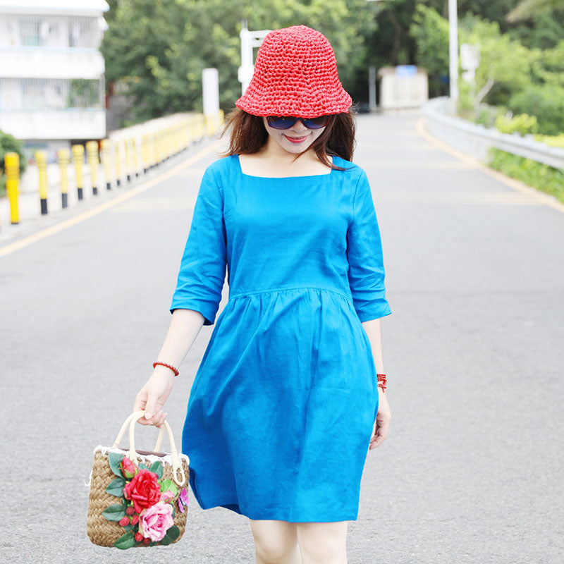 Special Collar Design Women Half Sleeve Loose Blue Folded Dress - Buykud