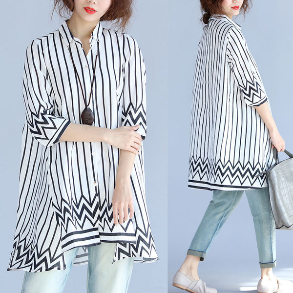 Irregular Stripe Short Sleeves Shirt