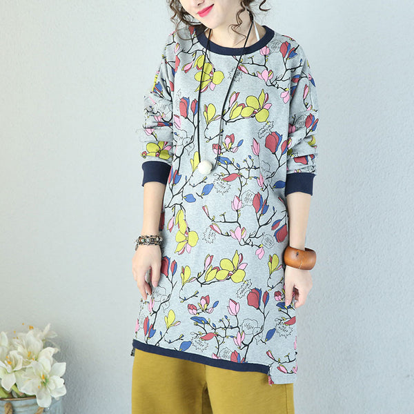 Retro Printing Cotton Loose Pullover
