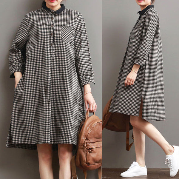 Lattice Loose Women Irregular Casual Linen Dress - Buykud
