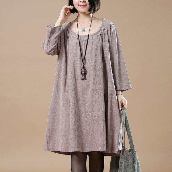 Loose Cotton Casual Retro Round Neck Dress