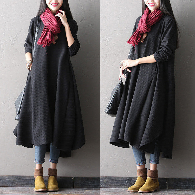 Cotton long sleeve spring and winter dress - Buykud