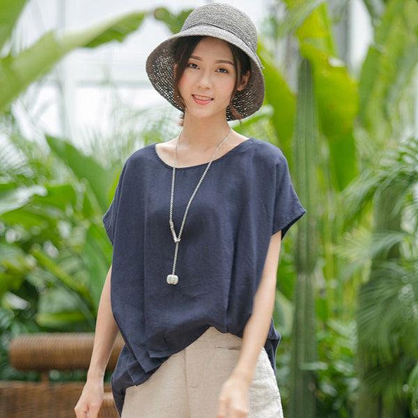 Summer Literature Women Round Neck Short Sleeve Shirt - Buykud
