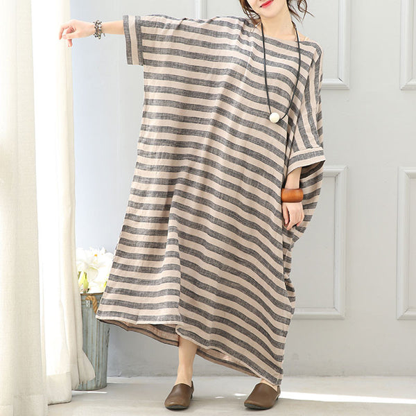 Women Cotton Linen Loose Fitting 3/4 Sleeve Dress