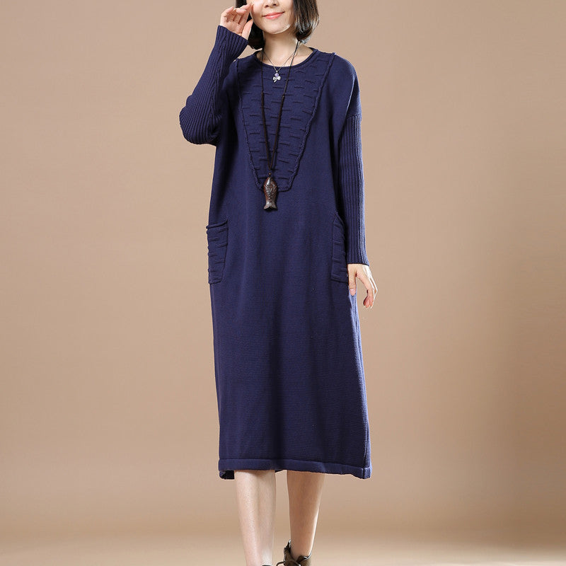 Blue Round Neck Long Sleeve Knitted Sweater