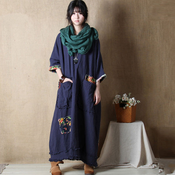 Spring New Round Neck Cotton Linen Bat Sleeve Stitching Loose Dress