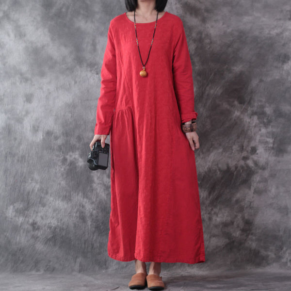 Women Linen Loose Red Dress