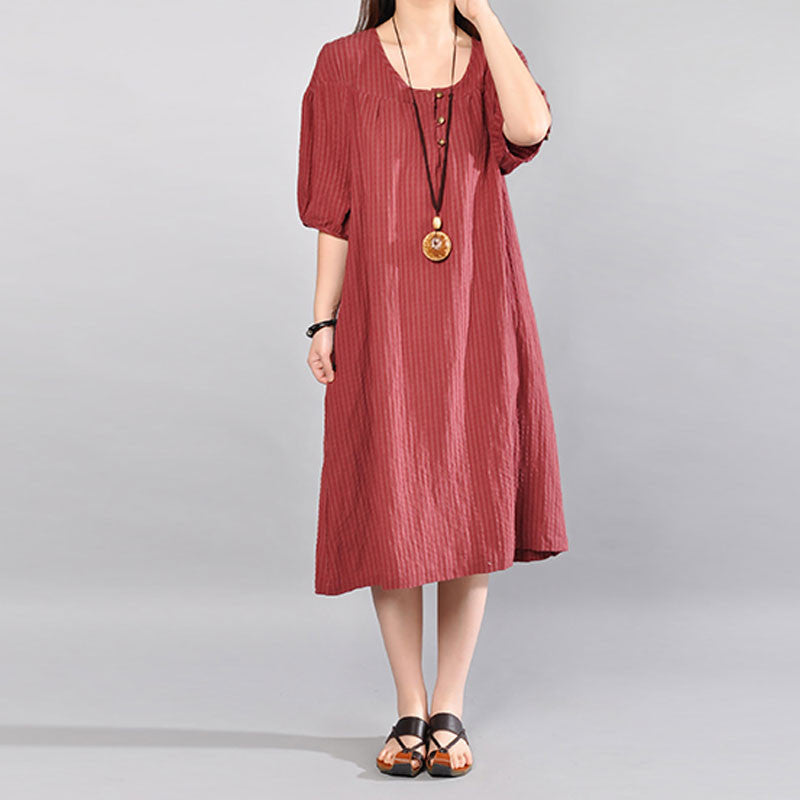 Casual Loose Simple Stripe Cotton Short Sleeves Loose Wine Red Dress - Buykud