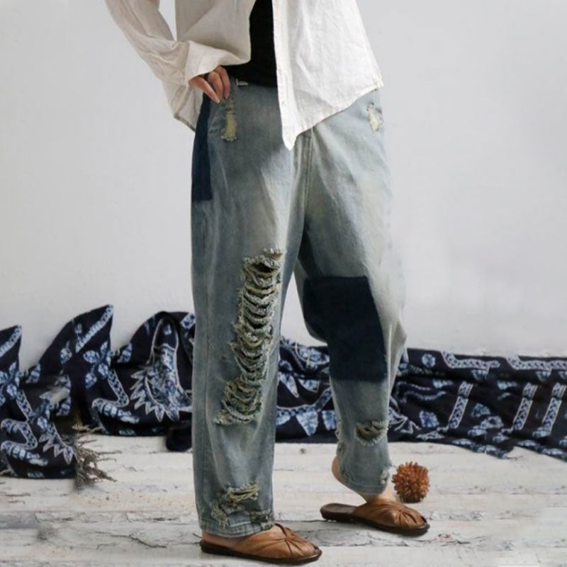Distressed Vintage Trousers Long Denim Pants - Buykud