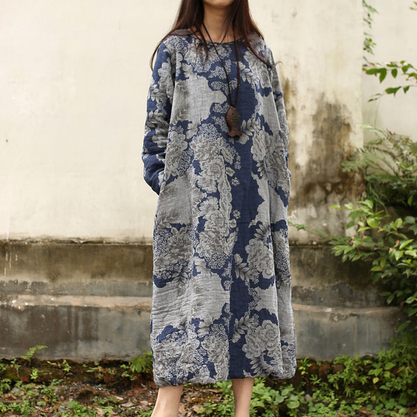 Women Print Cotton Linen Retro Autumn Dress - Buykud