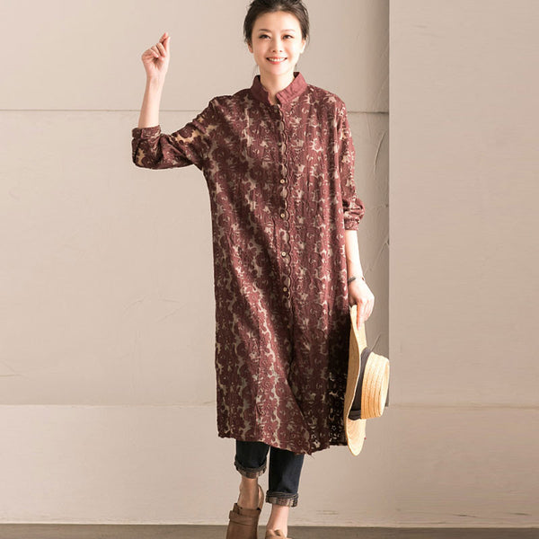 Loose Retro Casual Women Cotton Hollow Dress