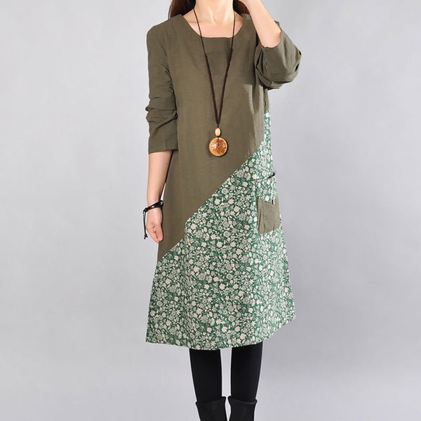 Cotton Round Neck Printing Women Dark Green Dress