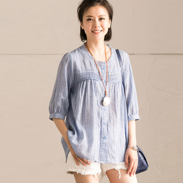Graceful Pleated Button Elbow Sleeves Light Blue Shirt - Buykud