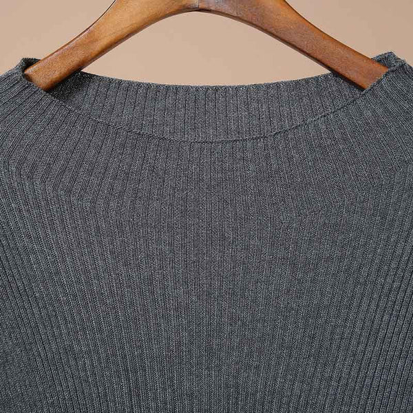 Round Neck Long Sleeved Big Swing Autumn Sweater